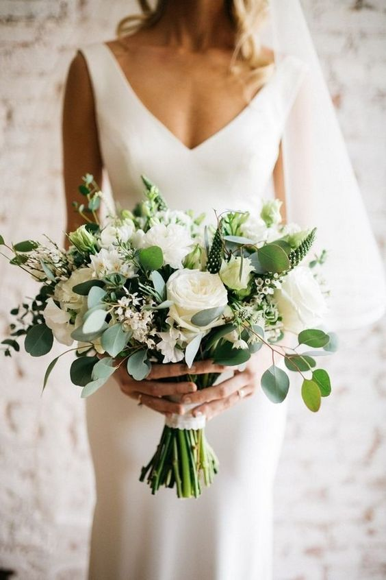 Greenery and White wedding bouquet with texture and roses by RAM Floral