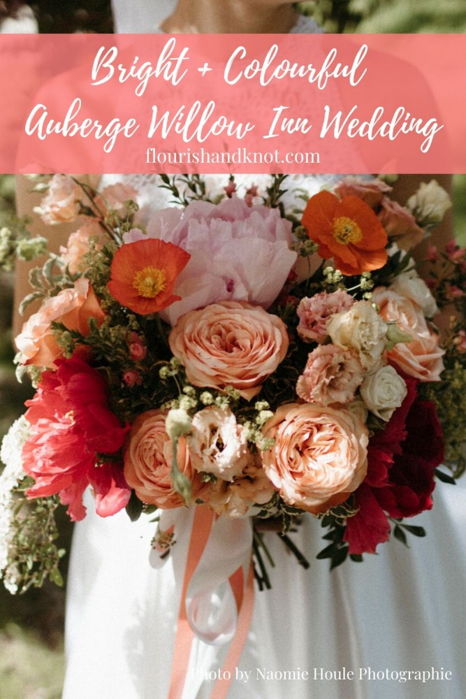 Peony and rose bridal bouquet in coral, pink, and orange | Peony bouquet | Auberge Willow Inn Wedding | Flourish & Knot | Naomie Houle Photographie