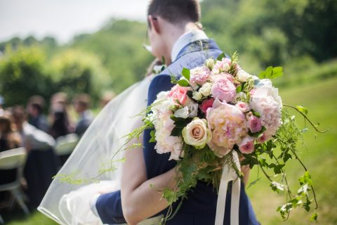 White, blush, and pink peony and rose bridal bouquet | Hotel Mont Gabriel Wedding | Flourish & Knot | Cassandre Poblah Photography