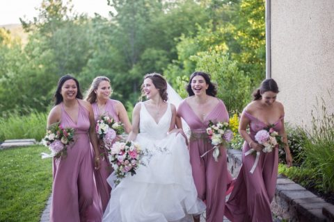 Bride and bridesmaids with peony and rose bouquets in white and blush pink | Hotel Mont Gabriel Wedding | Flourish & Knot | Cassandre Poblah Photography