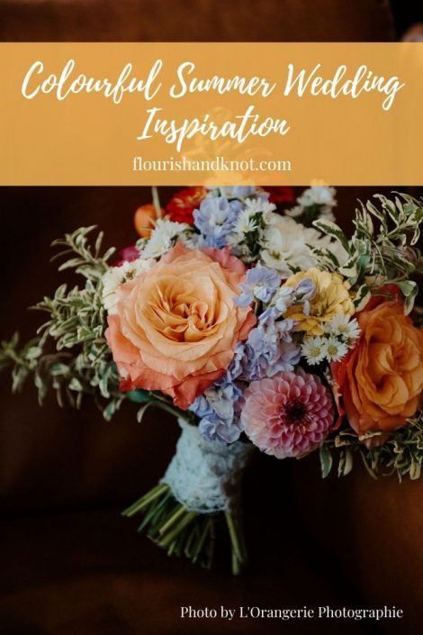 Colourful summer wedding inspiration | Bridal bouquet in bright palette | Summer wedding in Montreal | Flourish & Knot
